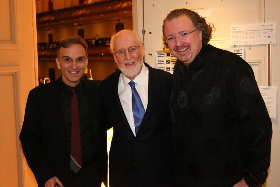 violinist gil shaham with boston pops laureate conductor john williams and conductor stéphane denève (hilary scott)